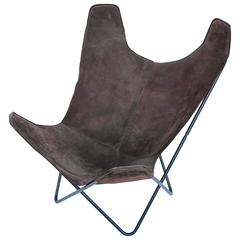 Knoll Butterfly Chair by Jorge Ferrari-Hardoy in Suede Leather