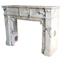Georgian Carved Marble Mantel, Probably Arabescato Marble, 18th-19th Century