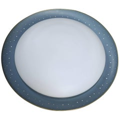 Large Italian Flush Mount, Blue Metal with Opaline Glass and Brass Trim