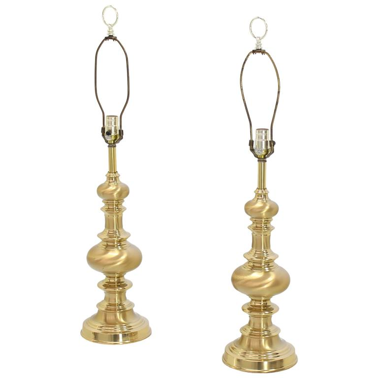 Pair of Heavy Solid Brass Finial Shape Table Lamps