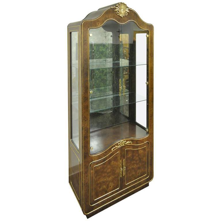 Mastercraft Amboyna Burl Wood French Hollywood Regency Curio Display Cabinet  For Sale