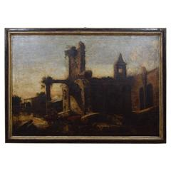 "Italian Oil on Canvas, ""Landscape with Ruins and Herds,"" 17th Century"