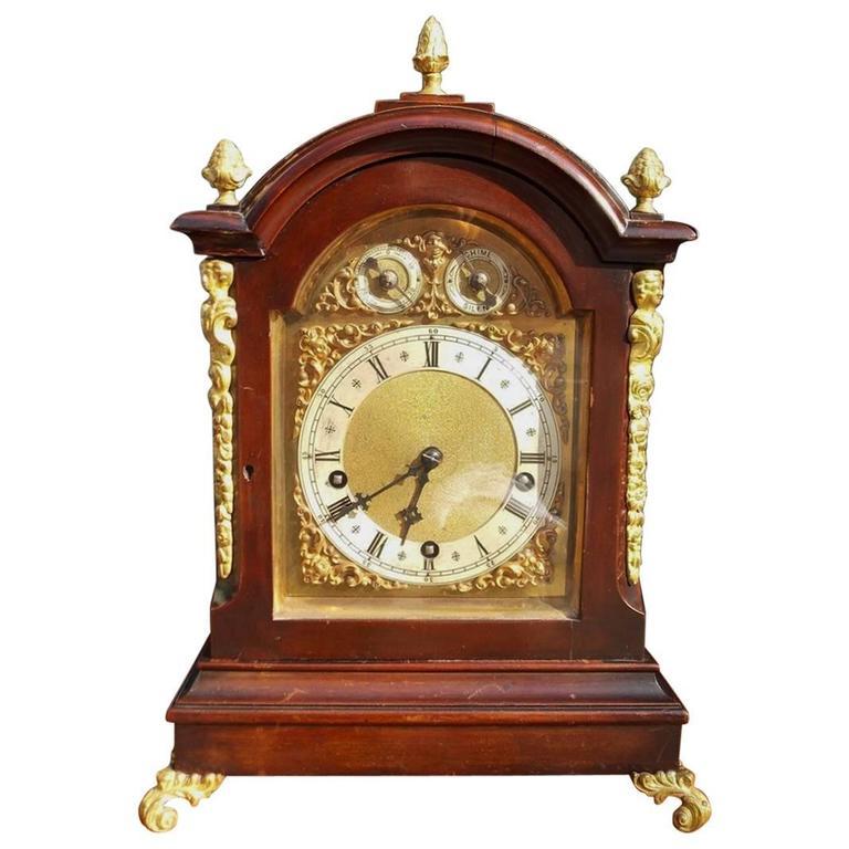 German Mahogany And Ormolu Figural Bracket Clock W And H