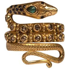 Gold, Diamond, Sapphire and Emerald Snake Ring