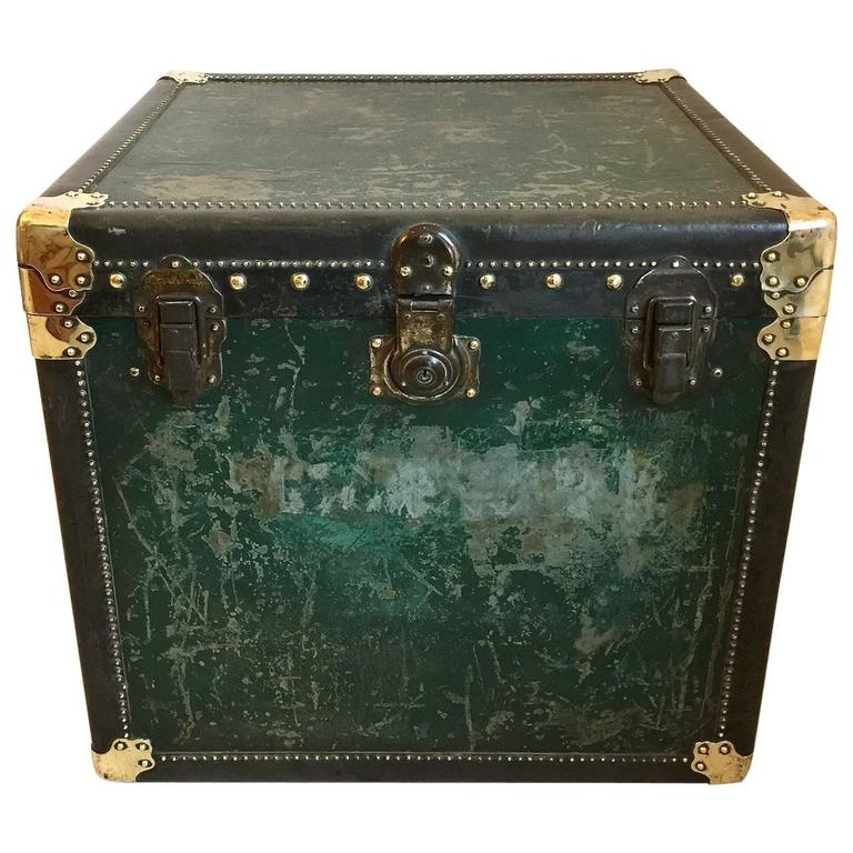 Vintage Antique Steamer Trunk Coffee Side Table At 1stdibs