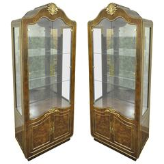 Pair of Mastercraft Amboyna Burl Wood French Hollywood Regency Curio Cabinets