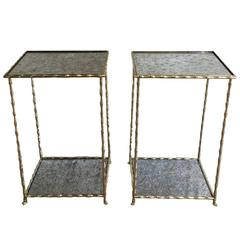 Pair of Bronze and Mirror Side Tables by Maison Bagués