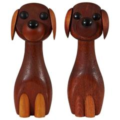 Pair of Danish Teak Dogs by Laurids Lonborg