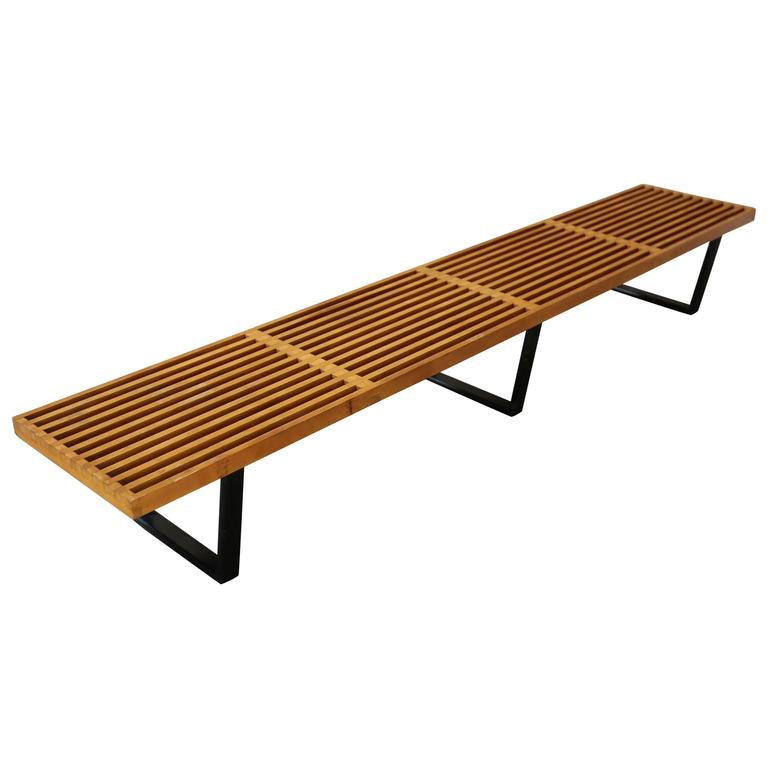 century amazon nelson mid slat dp made mod style platform bench ft contemporary modern com wood