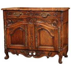 18th Century French Louis XV Carved Walnut Buffet from Provence