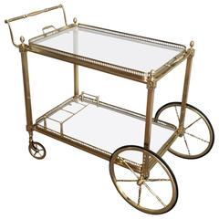 French Neoclassical Style Brass Bar Cart