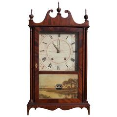 American Mahogany Pillar and Scroll Mantel Clock, Eli Terry, Circa 1825