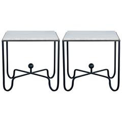 Pair of Wrought Iron and Travertine Side Tables in the Style of Mathieu Matégot