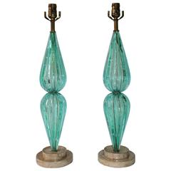Pair of Aquamarine Murano Glass Bullicante Lamps
