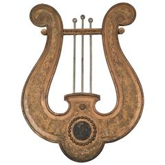 Large Neoclassical Lyre Wall Decoration from a Music Hall