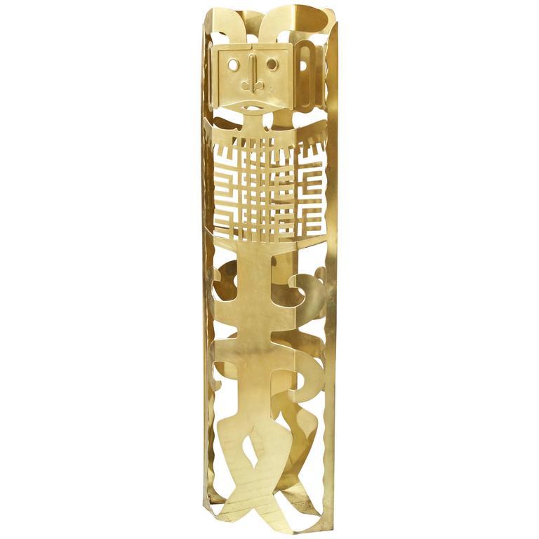"""Polished Brass """"Maya"""" TOTEM by Robert Zeidman, 1980s"""
