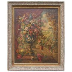 Italian School Floral Oil on Canvas