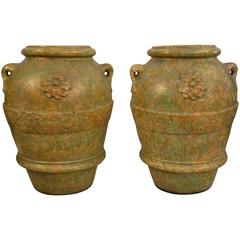 Large-Scale Terracotta Garden Urns or Jars