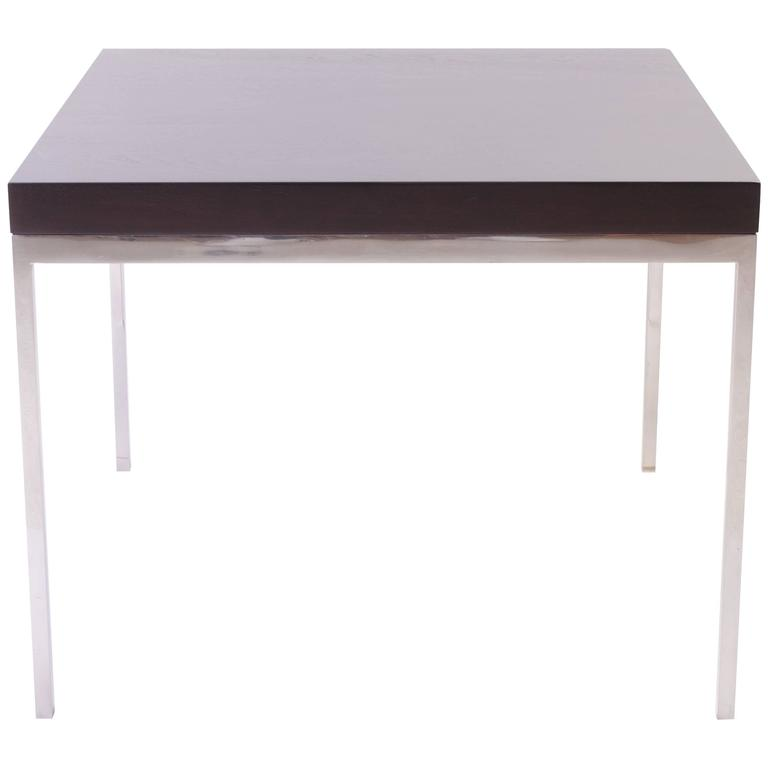 Walnut and Chrome Modernist Side Table For Sale