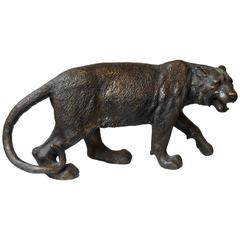Early 20th Century Cast Bronze Tiger