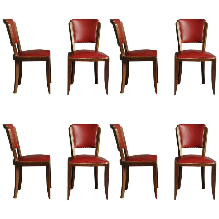 Set of Eight French Art Deco Chairs
