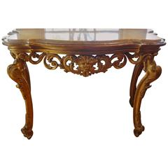 Beautiful 18th Century Venetian Gilt Wood Console Table With Marble Top