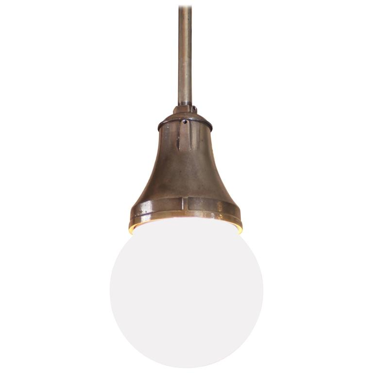 Industrial Pendant Light, Lamp Cast Iron Glass Globe Ceiling Hanging  For Sale