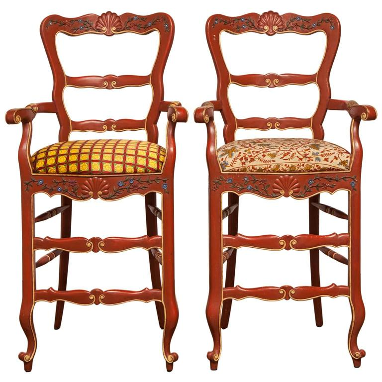 Pair Of Carved French Country Red Bar Stools At 1stdibs