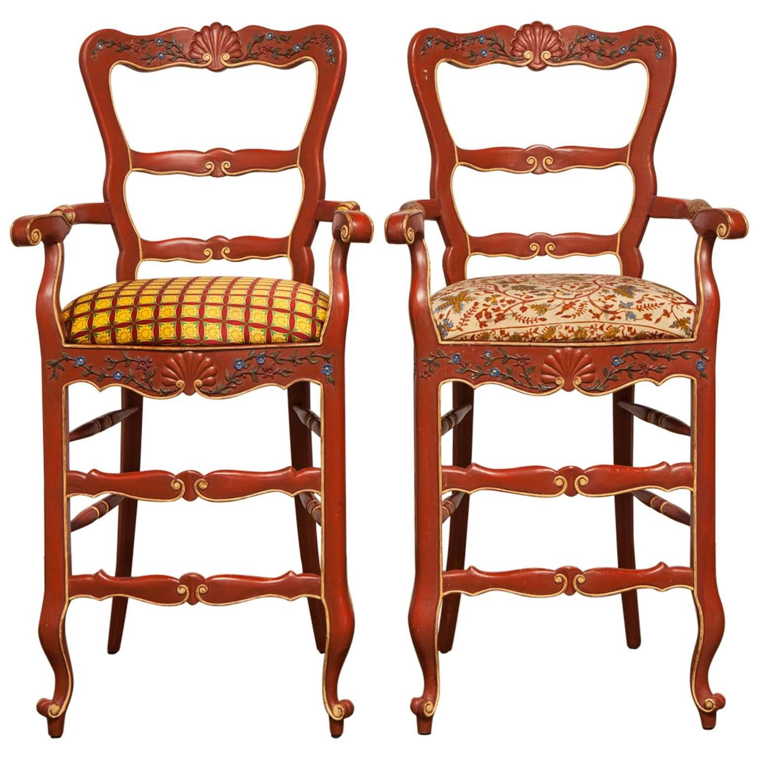 Pair Of Carved French Country Red Bar Stools For Sale At