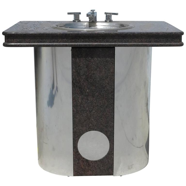 Vintage Sherle Wagner Vanity Sink Black Granite Top With Stainless Steel  Base For Sale