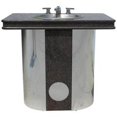Vintage Sherle Wagner Vanity Sink Black Granite Top with Stainless Steel Base