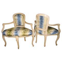pair of louis xv style corner chairs