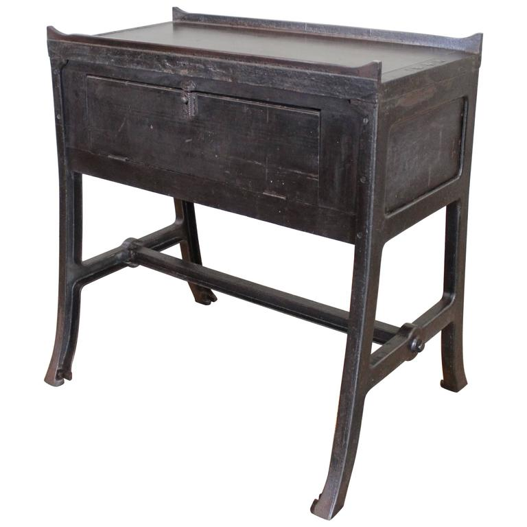 Vintage Industrial Wood And Cast Iron Printers Proof Table