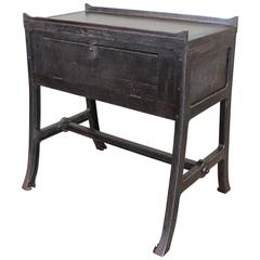 """Vintage Industrial Wood & Cast Iron Printers Proof Table Stand """"New York"""""""