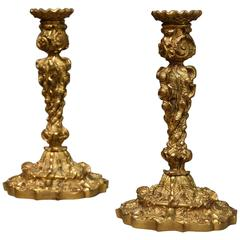Pair of 19th Century French Ormolu Candlesticks in the Rococo Style