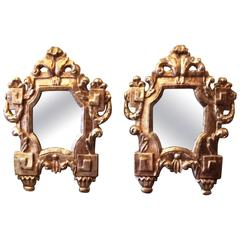 Nice Pair of Italian, 18th Century Carved Giltwood Mirrors, White Gold Gilding