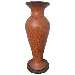 Red Lacquer Papier Mache Urn, Large Scale