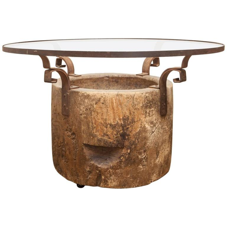 Organic reclaimed japanese usu tree trunk pedestal dining for Tree trunk dining table