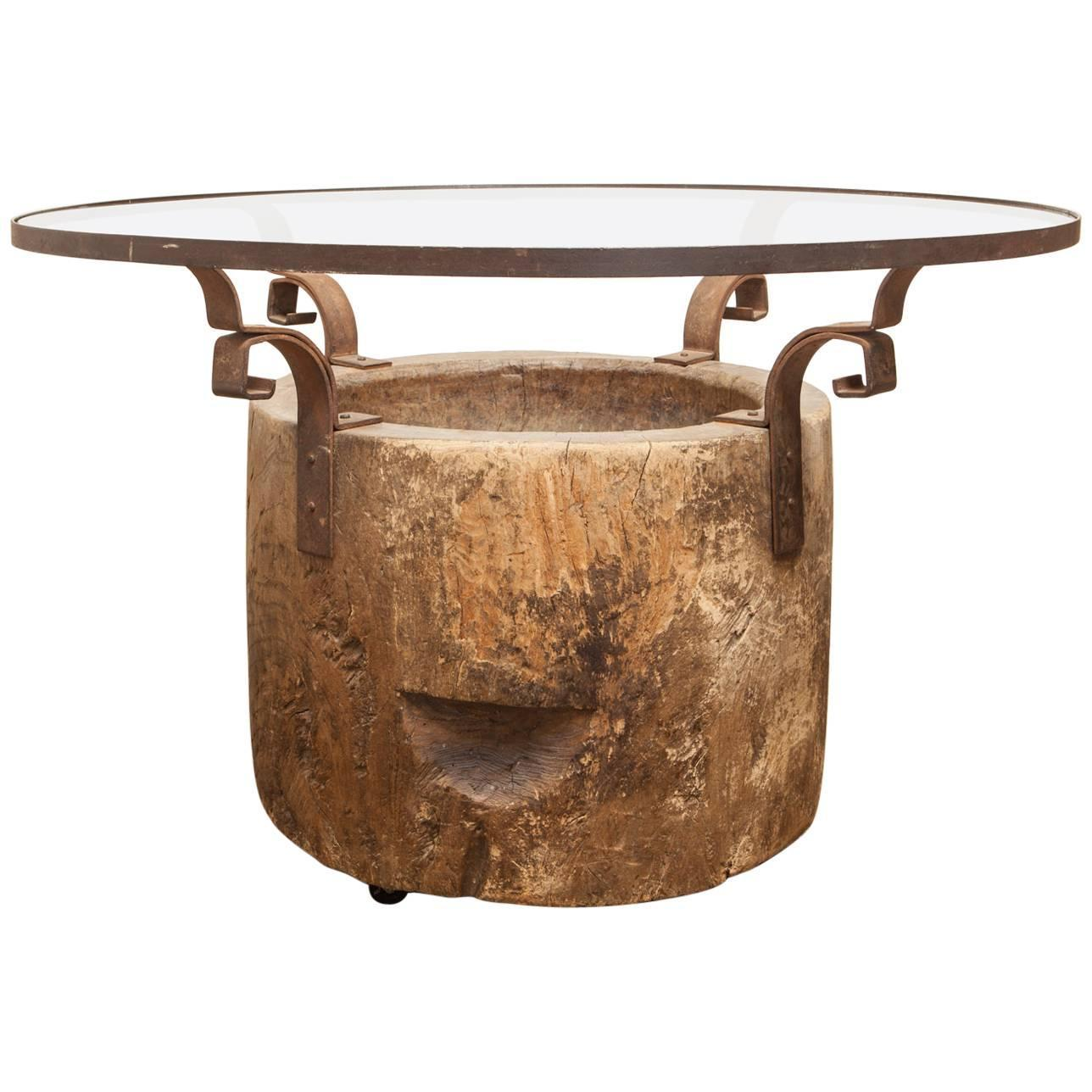 Michael taylor cyprus tree trunk dining table at 1stdibs - Organic Reclaimed Japanese Usu Tree Trunk Pedestal Dining Table