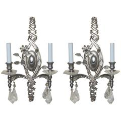 Wonderful Vintage Pair Transitional Silver Rock Crystal & Beaded Sconces