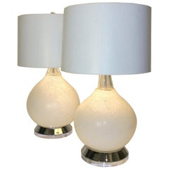 2 Mid-Century Modern Italian Vistosi White Murano Glass, Chrome & Lucite Lamps