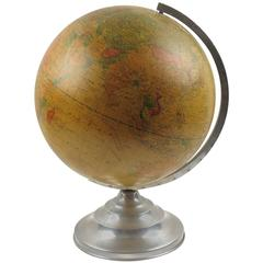 French Terrestrial Glass Globe and Lamp on Aluminum Stand, circa 1950s