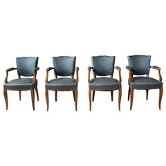 A Set of 4 Fine French Art Deco Sycamore Armchairs