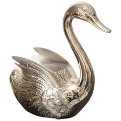 Large Silver Plated Swan Wine Cooler
