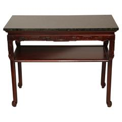 Vintage Chinoiserie Style Console with Dark Green Marble Top