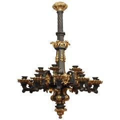 French Charles X Patinated and Gilt Bronze Chandelier