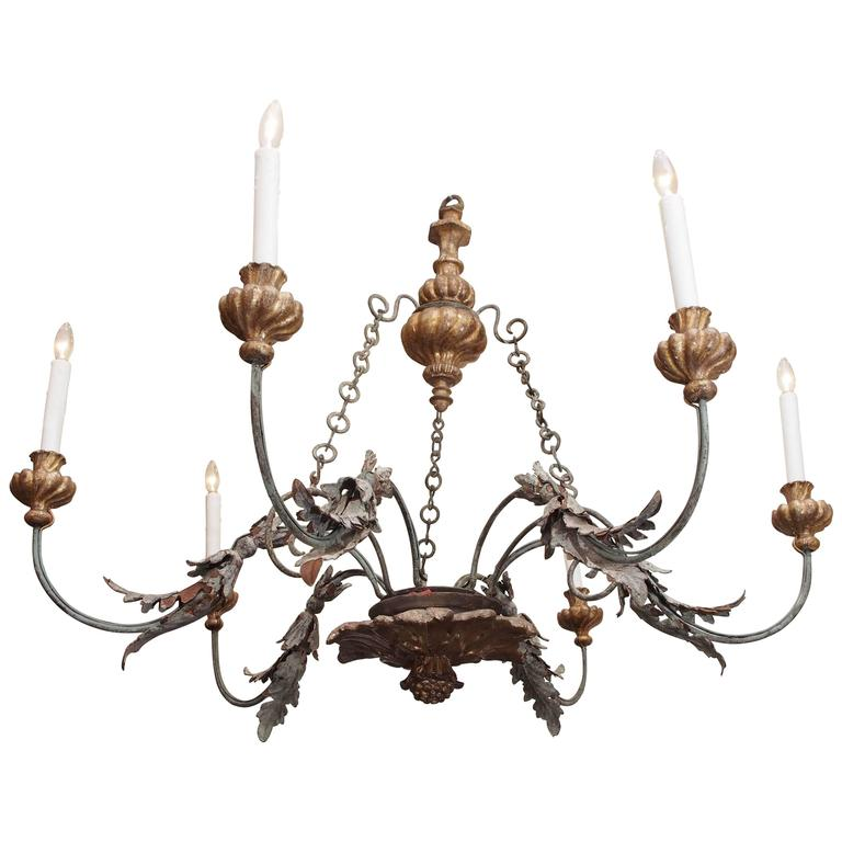 Italian Tuscan Giltwood And Iron Chandelier For Sale At