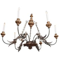 Italian, Tuscan, Giltwood and Iron Chandelier