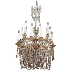 French Napoleon III Gilt Bronze and Baccarat Crystal Chandelier