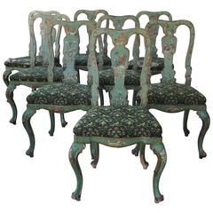 Set of Eight Italian Dining Chairs with Chinoiserie Decoration